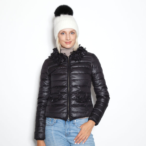 Down Jacket with Satin Flower Collar