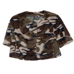 Cropped Collarless Faux Jacket(Camo)