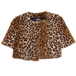 Cropped Collarless Faux Jacket(Leopard and in Black)