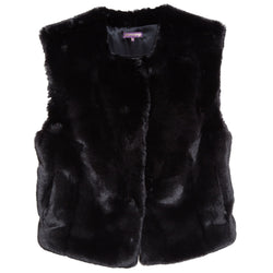 Collarless Faux Rex Vest