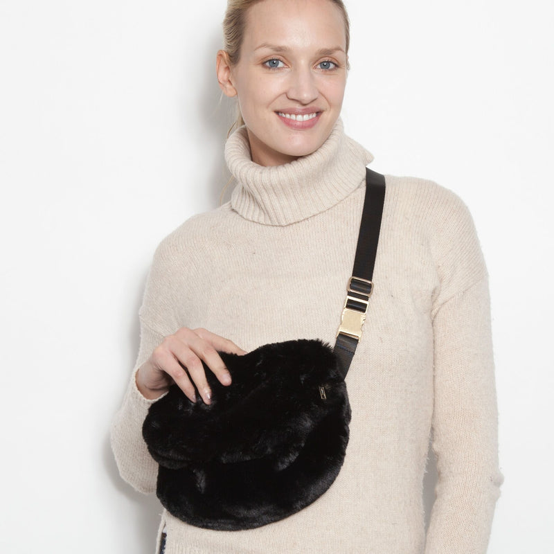 Faux Fur Fanny Pack ( Black, Leopard, Camo)