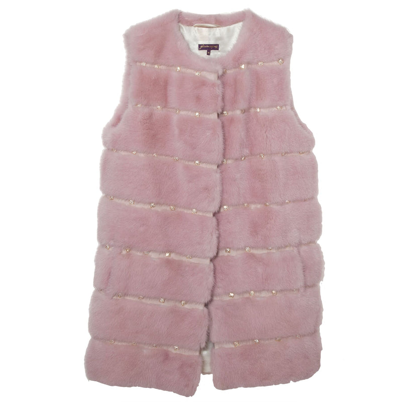 Mink Crystal Stud Vest (Available in Pink, Dark Brown)