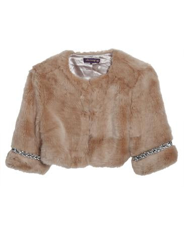 Faux Fur Bolero with Embellished Cuff