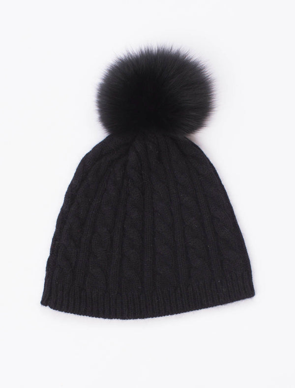 Cable Beanie with Pom Pom