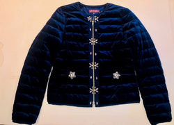 Navy Velvet Embellished Jacket