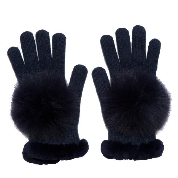 The Hilary Whipstitch Fur Knit Gloves