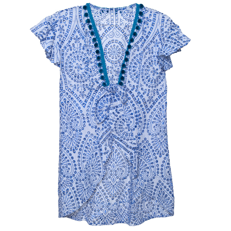 Embroidered Blue Eyelet Tie Front Kimono(Also Available in Red)