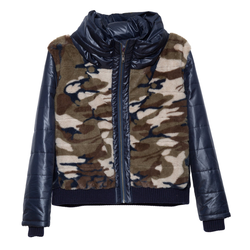 Definitive Down Jacket in Camo Faux Fur