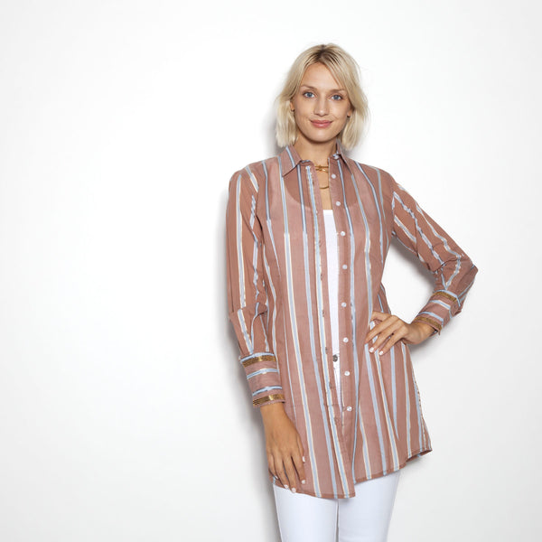 Beachcomber Shirt Dress in Balos Stripe Coco