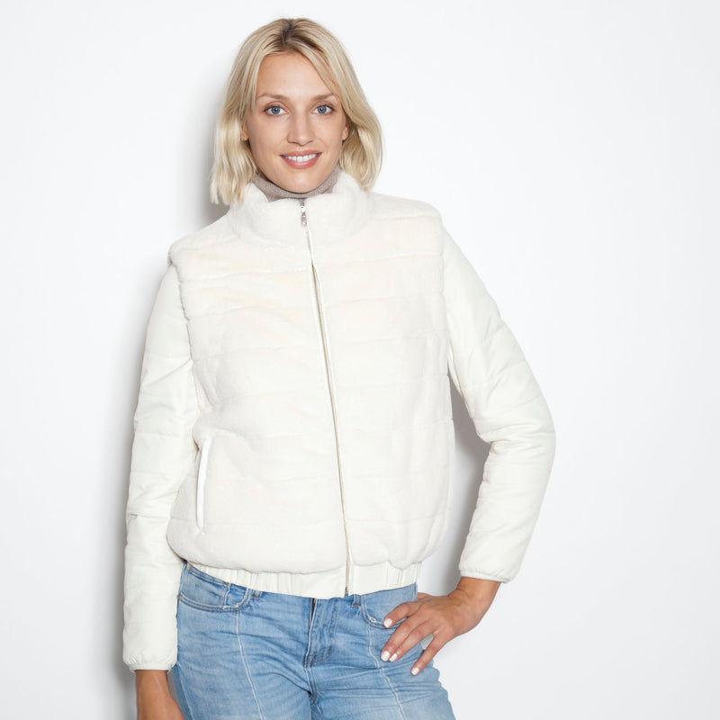 Signature Down  Sleeve Jacket with Removable Sleeve (Ivory)