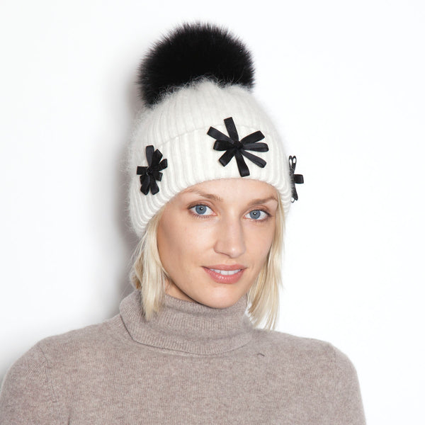 Satin Flower Angora Hat