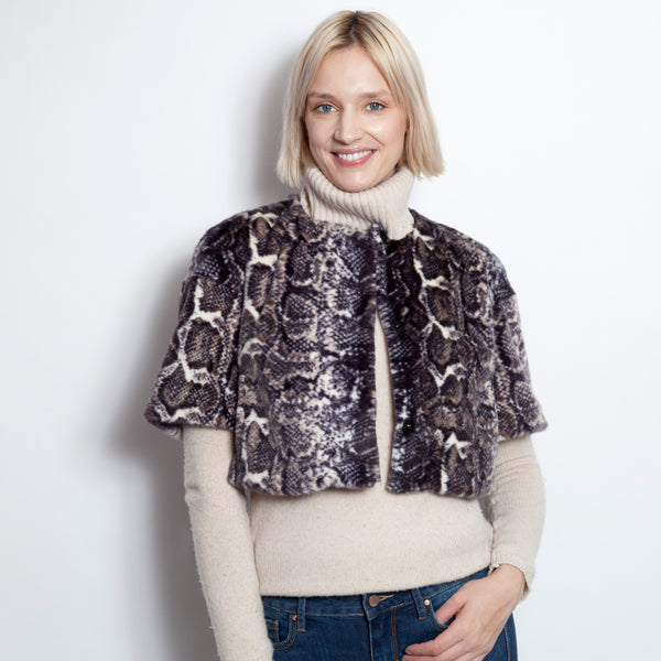 Cropped Collarless Faux Fur Snake Print Jacket