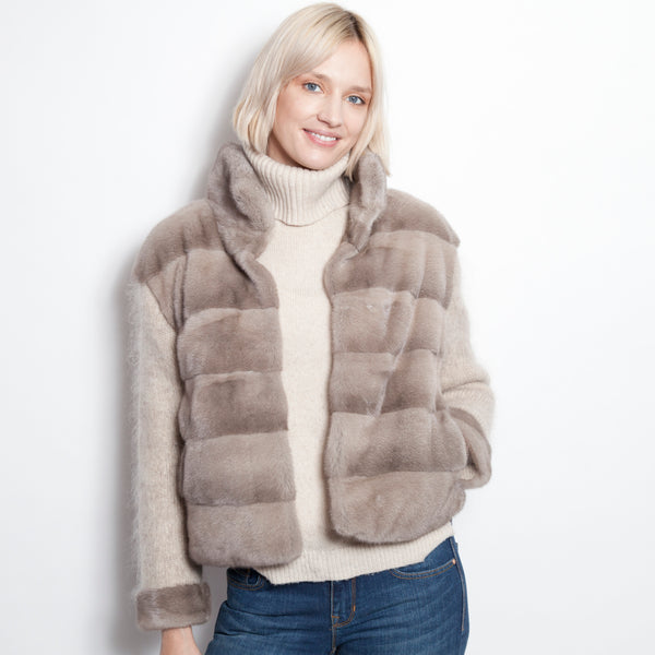 Mohair and Mink Luxury Cardigan Taupe
