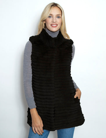Elongated Vest with Knit Back