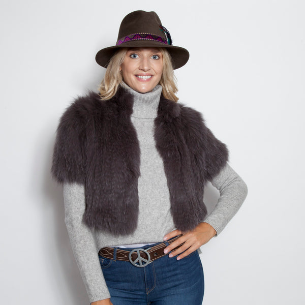 Signature Knitted Fox Bolero Grey