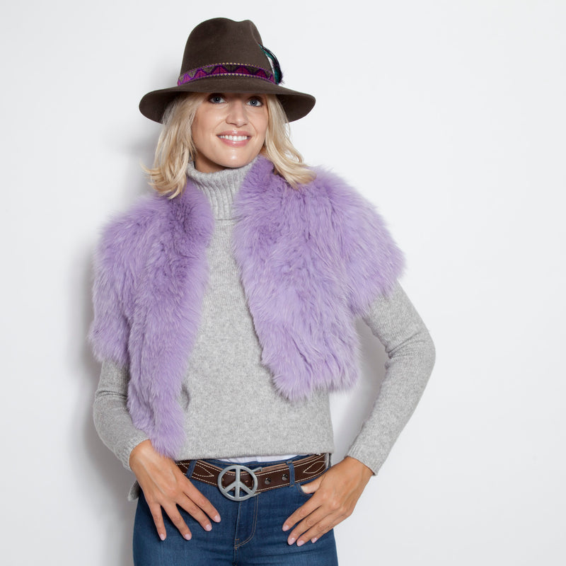 Signature Knitted Fox Bolero Lavender