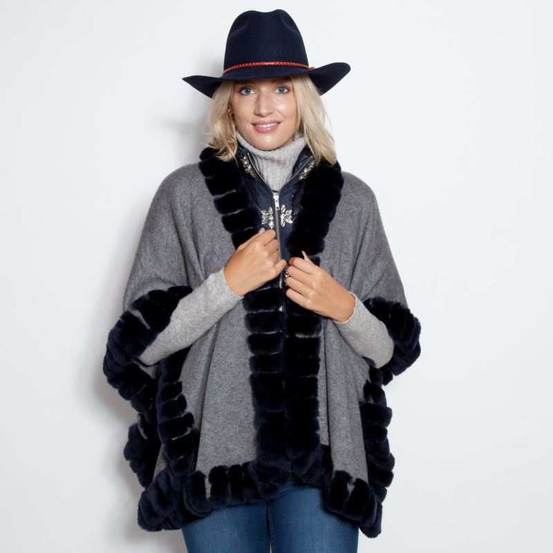 Signature Oversize Snap Sleeve Poncho Navy/Grey