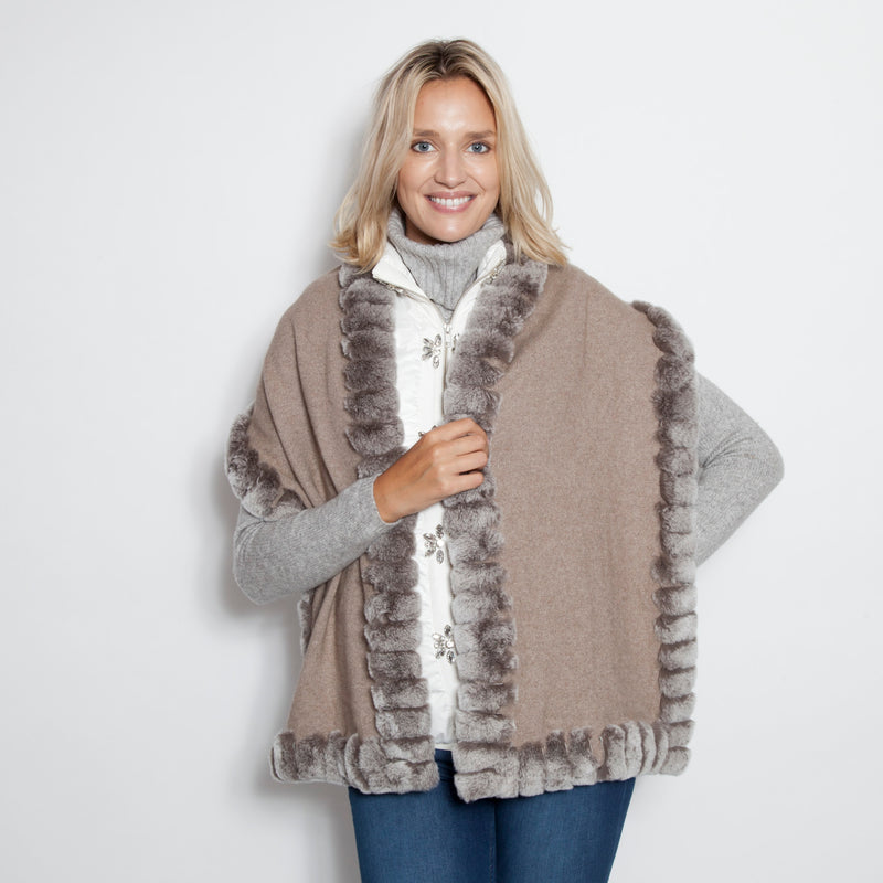Cashmere Oblong Scarf Taupe Snow Top