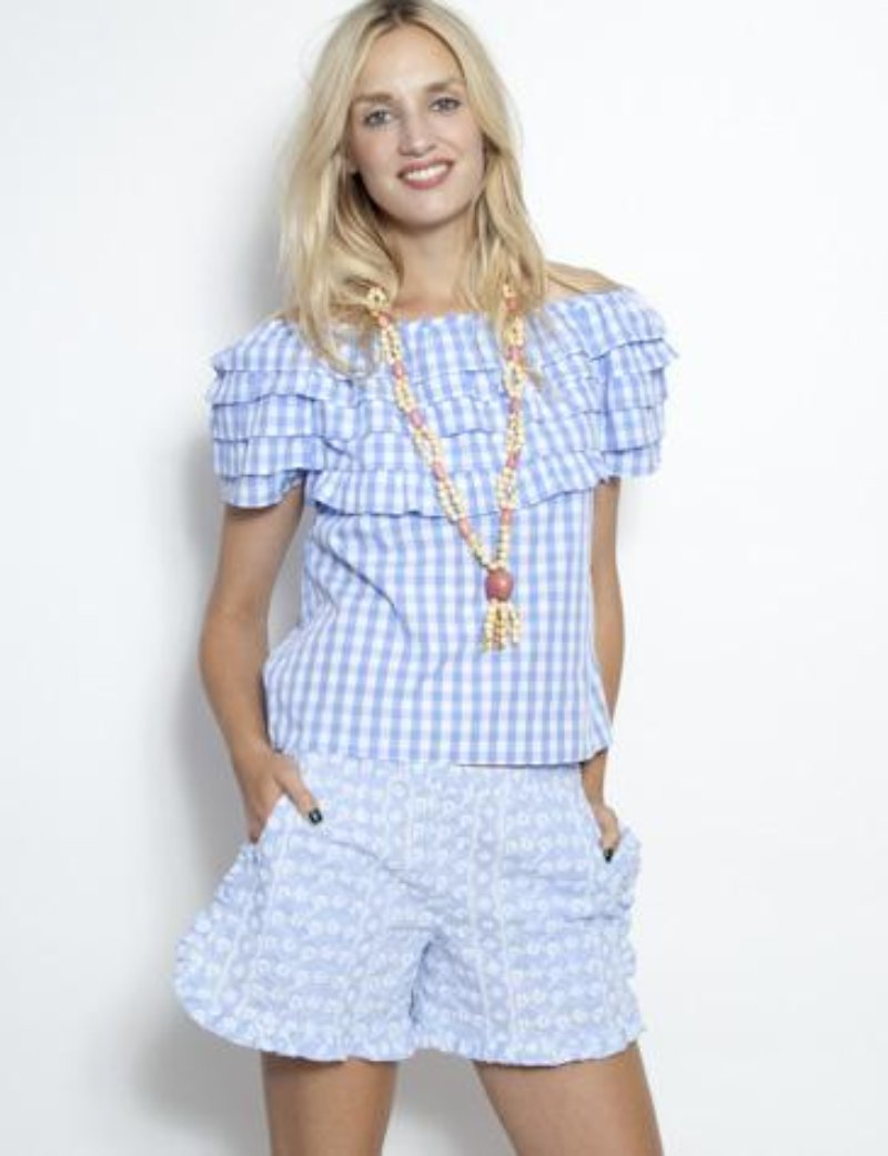 The Ruffle Top Gingham Blue