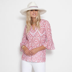 Flounce Sleeve Tunic Top(AVAILABLE IN MORE COLORS/PRINTS)