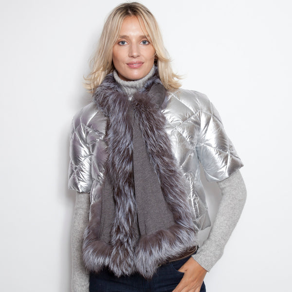 Gray Jersey Scarf with Silver Fox Trim