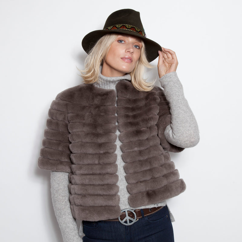 Collarless Rex Jacket with Suede Insert Taupe