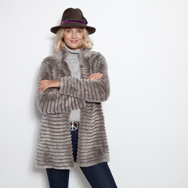 Sweater Coat Layered Rex Rabbit Taupe Snow Top