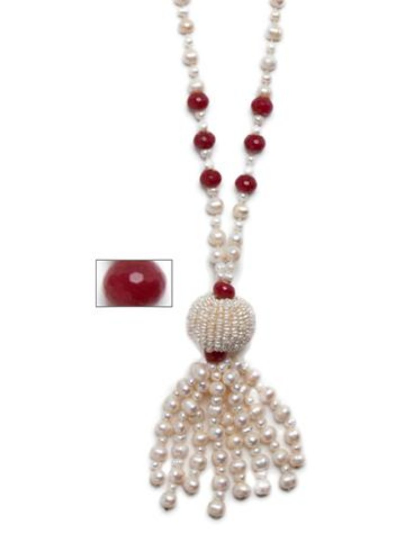 Byzantine Genuine Pearl Tassel Necklace