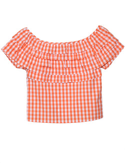 The Ruffle Top Orange Gingham