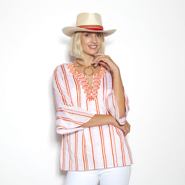 Cabana Stripe Orange Flounce Sleeve Tunic