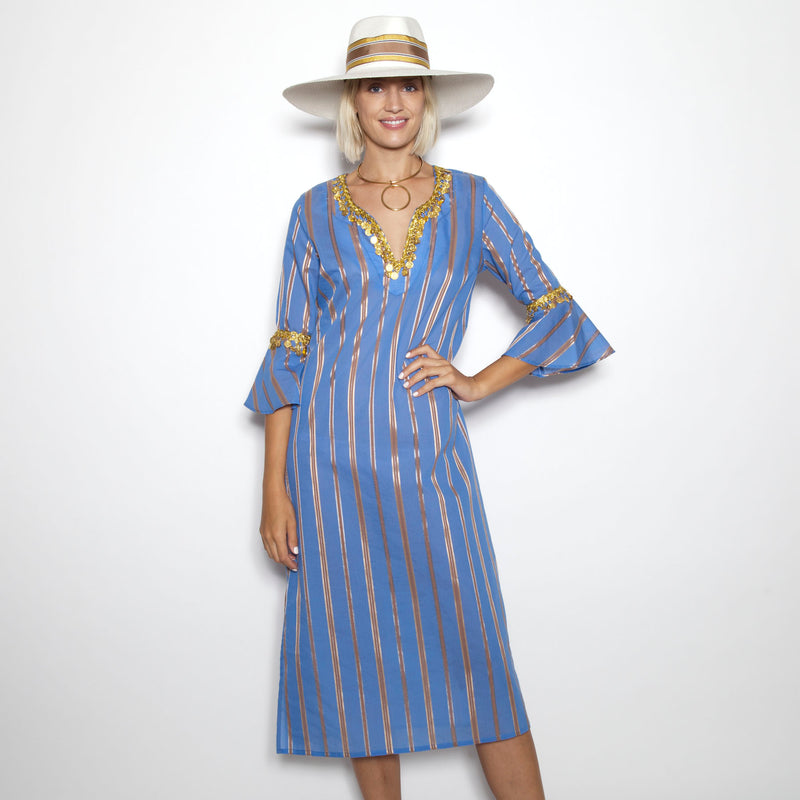 Balos Stripe Flounce Sleeve Tunic(Available in Coco/Gold As Shown and Blue/Gold)