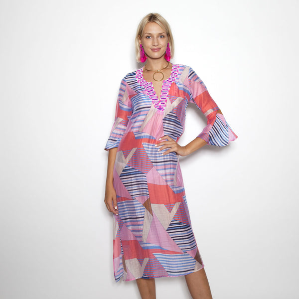 Patchwork Coral Flounce Sleeve Caftan(Pre-Order)