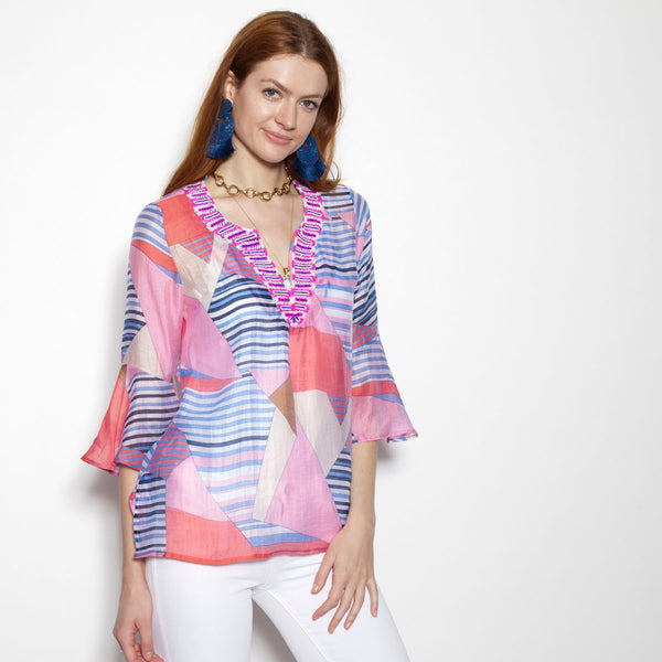 Patchwork Coral Flounce Sleeve Tunic (Pre-Order)