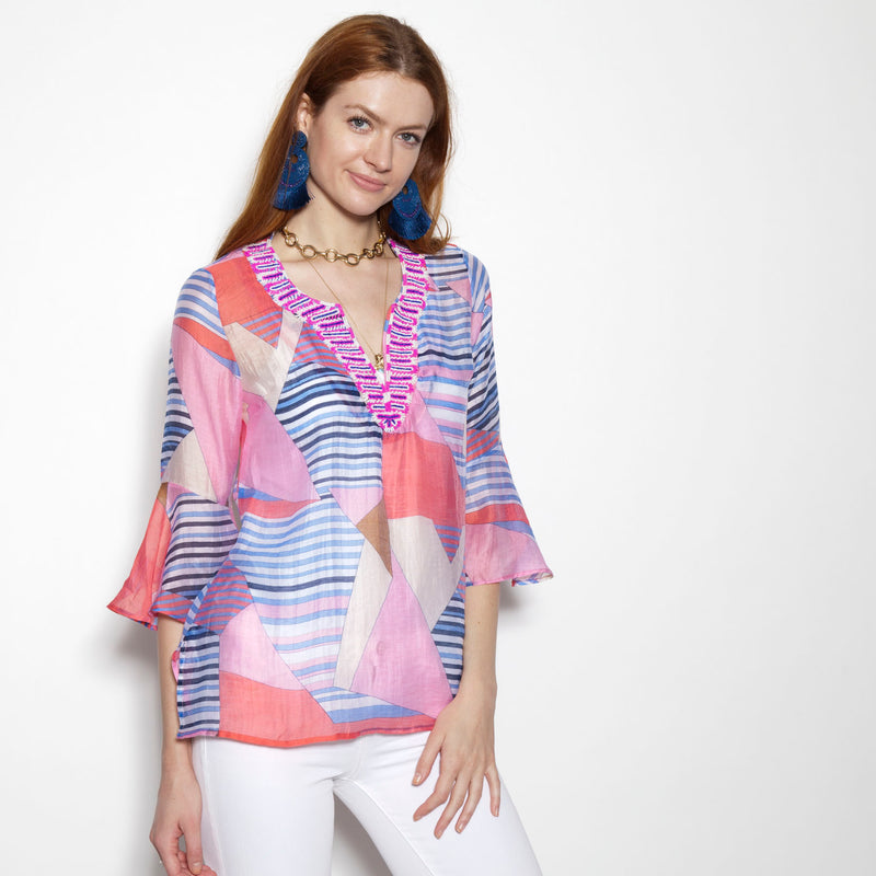 Patchwork Coral Flounce Sleeve Tunic