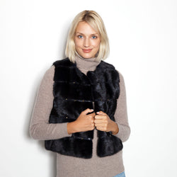 Sheared Cropped Split Mink Vest with Gold Studs