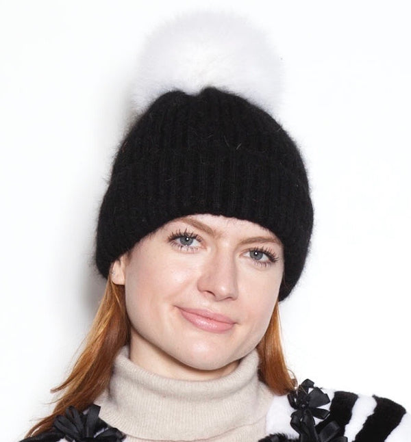 Black Angora Knit Hat With Ivory Pom Pom
