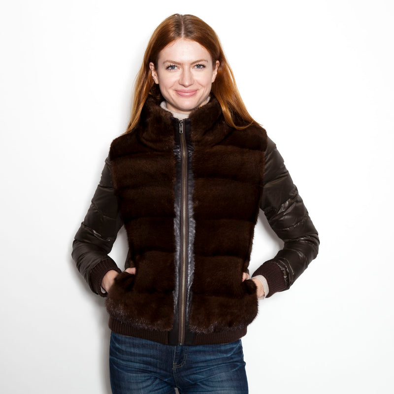 Luxe Down Jacket Brown (Mink/Brown Nylon)