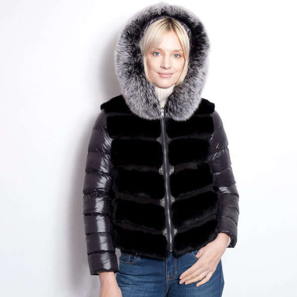 Black Down Parka with Fox Hood