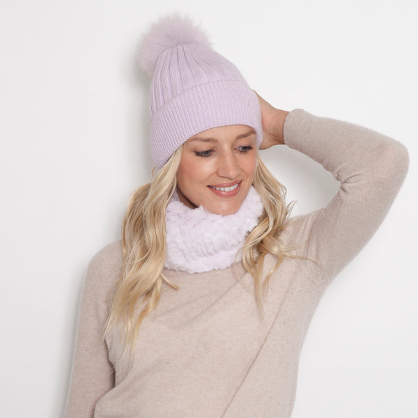 Solid Color Hat with Cuff and Matching Pom Pom