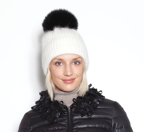Ivory Snowball Angora Knit Hat With Black Pom Pom
