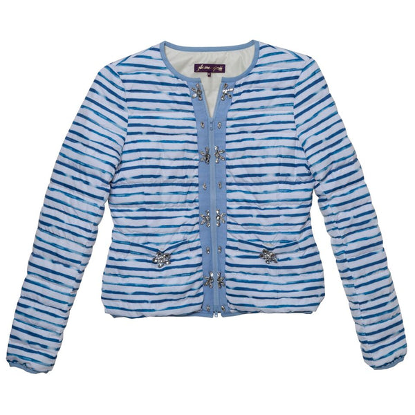 Gauguin Stripe Embellished Down Jacket