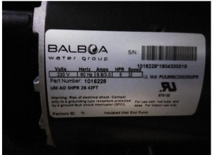 Pump: 4HP/8.8 Amp/230V:Balboa #1016228 - Thermal Hydra Plastics