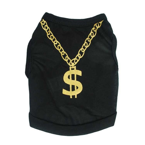 14K Gold Chain Necklace Jersey Pet Shirt