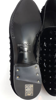 Jimmy Choo Black Velvet Slippers with Black Crystals and Stars