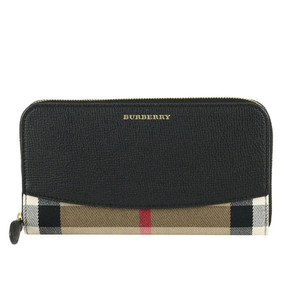Burberry Zip House Check Leather Wallet