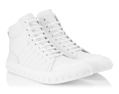 Jimmy Choo Ultra White Sport Calf High Top Trainers with Stars