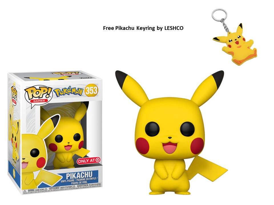 Funko Pokemon Pikachu Exclusive #353 + Free Keyring (Pokemon Pikachu) 2019 Edition