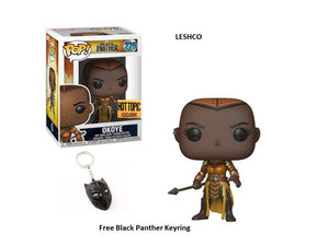 Black Panther Pop Vinyl Okoye #275 With Black Panther Hottopic Keyring Exclusive 2018 Edition