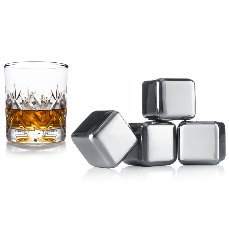 6 x Stainless Steel Whiskey Stones Ice Cubes
