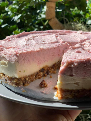 Raw Vegan Lemon and Strawberry Cheesecake